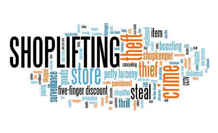 Shoplifting - retail industry crime problem. Word cloud sign. Stok Fotoğraf - 106338567