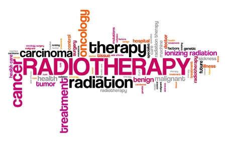 Radiotherapy cancer treatment - ionizing radiation oncology concept word cloud. Stock Photo