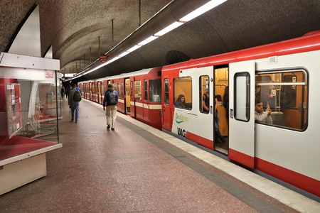 NUREMBERG, GERMANY - MAY 7, 2018: People ride subway train (U-Bahn) by VAG in Nuremberg, Germany. Nuremberg is located in Middle Franconia. 511,628 people live here.