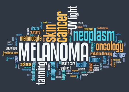 Melanoma (skin cancer type) - serious illness word cloud concept. Stock Photo