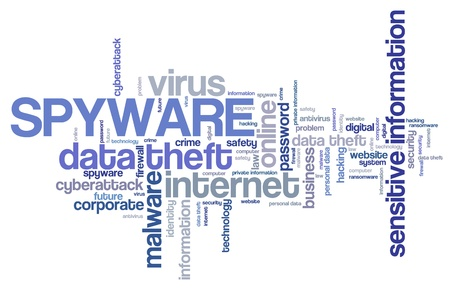 Spyware virus - compromised computer security concept. Word cloud.