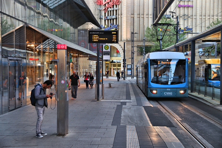 CHEMNITZ, GERMANY - MAY 8, 2018: Shopping malls and CVAG electric tram in Chemnitz, Germany. Chemnitz is the 3rd-largest city in the Free State of Saxony (Germany).