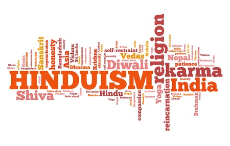 Hinduism - karma way of life. Word cloud sign. Stock fotó