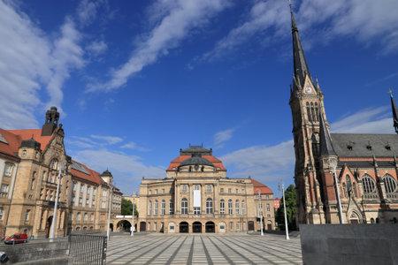 Chemnitz stad in Duitsland (deelstaat Saksen). Theaterplatz - Theaterplein.