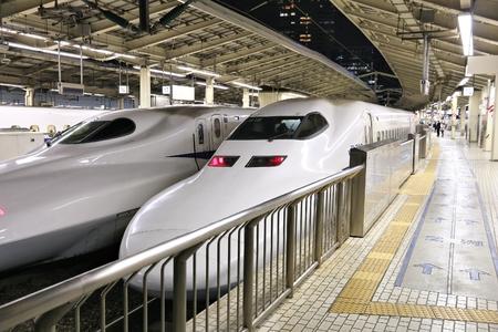 TOKYO, JAPAN - NOVEMBER 28, 2016: Shinkansen Tokaido bullet train at Tokyo Station, Japan. Tokaido route is served by Hikari and Nozomi Shinkansen trains.