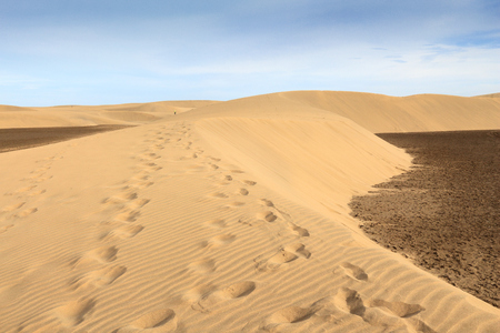 Gran Canaria sand dunes - Maspalomas desert landscape.