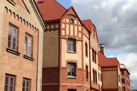 Gothenburg city in Sweden. Haga district brick architecture.