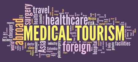 Medical tourism concept - traveling abroud for health care. Word cloud. Stock Photo