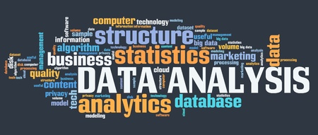 Data analysis - content analytics technology concept. Word cloud. Banque d'images - 109087148