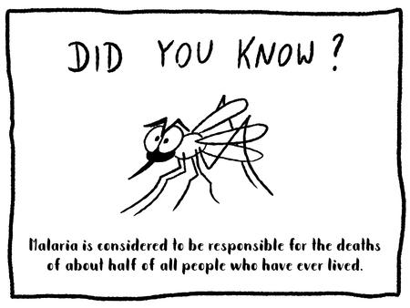 Trivia fact series - fun cartoon doodle newspaper comic strip concept. Malaria fact.