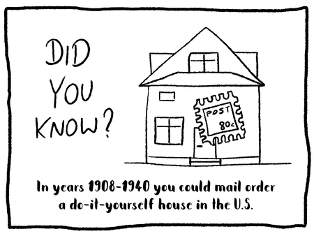 Trivia fact series - fun cartoon doodle newspaper comic strip concept. Mail order home.