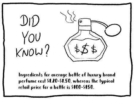 Trivia fact series - fun cartoon doodle newspaper comic strip concept. Luxury perfume price. Stock Illustratie