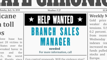 Job offer - branch sales manager. Newspaper classified ad in fake generic newspaper.