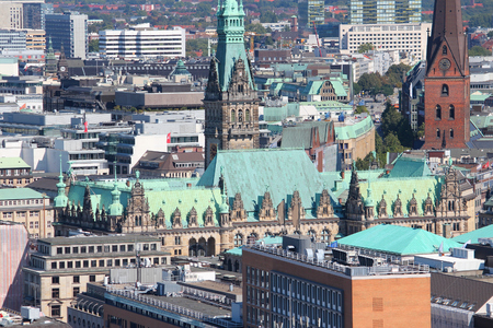 Hamburg, Germany - old town aerial view with the City Hall. Stock Photo - 110072612