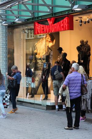 HAMBURG, GERMANY - AUGUST 28, 2014: People visit NewYorker in Spitallerstrasse, Hamburg. NewYorker as of 2011 had 857 stores in 36 countries.