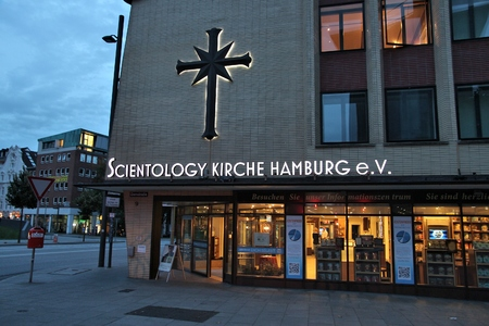 HAMBURG, GERMANY - AUGUST 28, 2014: Scientology Church in Hamburg. Scientology is not considered a religion in Germany and there are proceedings to make it officially cult. Sajtókép