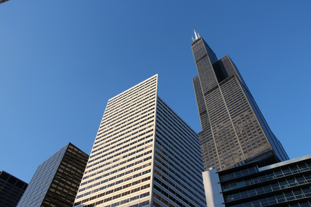 CHICAGO, USA - JUNE 27, 2013: Skyline view with Willis Tower (formerly Sears Tower) in Chicago. It is 442m tall and as of 2013 is the 2nd tallest building in the USA.