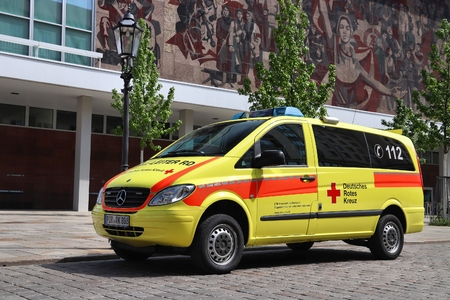 DRESDEN, GERMANY - MAY 10, 2018: German Red Cross ambulance (Mercedes Vito) parked in Dresden. International Red Cross and Red Crescent has about 17 million volunteers.
