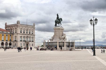 LISBON, PORTUGAL - JUNE 4, 2018: People visit Comercio Square (Praca Comercio) in Lisbon, Portugal. Lisbon is the 11th-most populous urban area in the EU (2.8 million people).