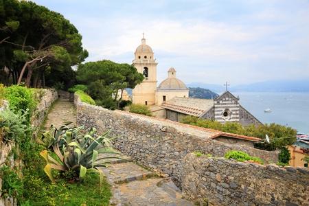 Portovenere town,  in Italy. White Madonna Sanctuary church (Santuario della Madonna Bianca).