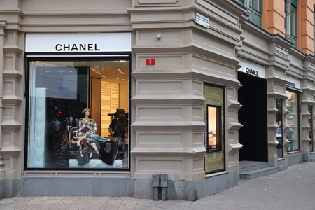 STOCKHOLM, SWEDEN - AUGUST 24, 2018: Chanel fashion store at Birger Jarlsgatan, Stockholm. Birger Jarlsgatan street is home to most exclusive shopping areas in Sweden.