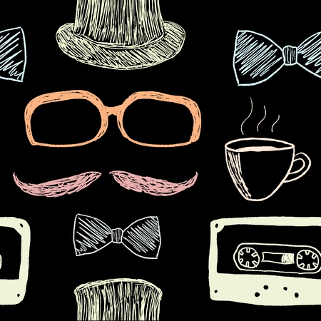 Hipster background with mustache and audio cassette tapes - seamless texture vector illustration.