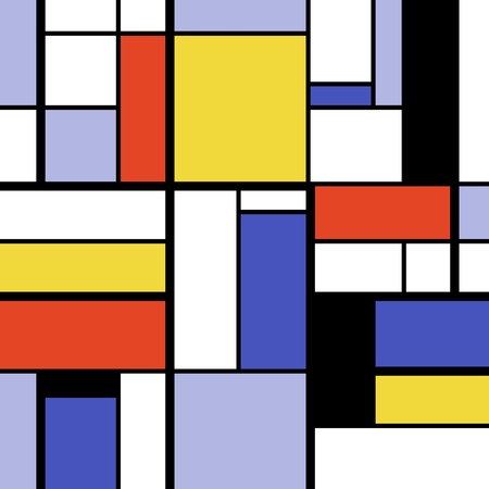 Simple modern art abstract - colorful squares and rectangles. Mondrian style vector. Illustration