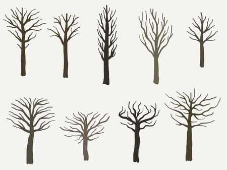 Ensemble de forme d'arbre - collection d'illustration silhouette vecteur arbre.