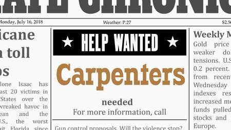 Offerta di lavoro per falegnami. Annuncio di giornale in falso giornale generico.