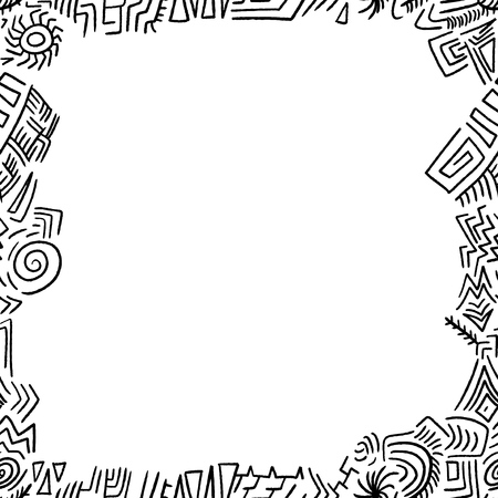 Doodle border frame - quirky tribal vector illustration.