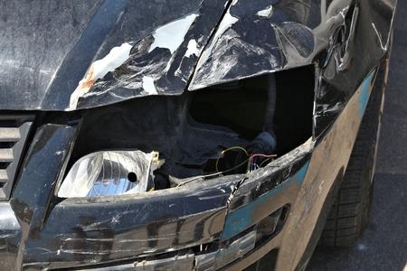 Generic car with crashed front. Vehicle accident result. Missing lamp. Reklamní fotografie