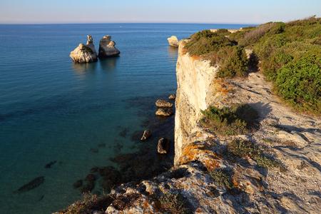 Salento coast landscape in Italy. Torre DellOrso in Apulia region.