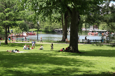 BOSTON, USA - JUNE 9, 2013: People visit famous Boston Common in Boston. It is the oldest city park in the United States, founded in 1634.