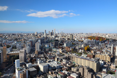 Tokyo city view - urban cityscape in Japan. Ikebukuro ward in background and Bunkyo in foreground.