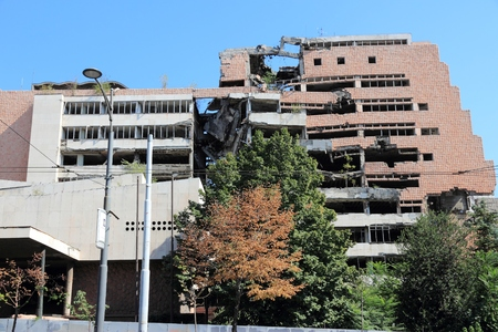 BELGRADE, SERBIA - AUGUST 15, 2012: War destruction in Belgrade, Serbia. The Yugoslav Ministry of Defence building was bombed and damaged in 1999 by NATO coalition forces.