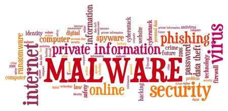 Malware cyber security text - compromised computer security concept. Word cloud.