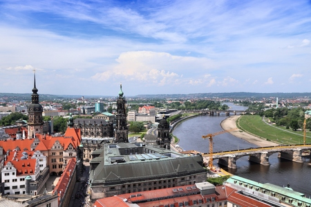 Dresden city aerial view in Germany (State of Sachsen). Elbe river.