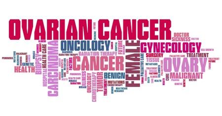 Ovarian cancer - serious womens illness word cloud concept.