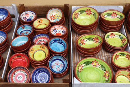 Traditional Portugese pottery - typical souvenirs in Albufeira, Portugal.