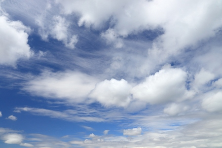 White fluffy clouds on blue sky. Idyllic background abstract.