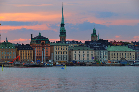 Stockholm city skyline in Sweden. Gamla Stan waterfront (the Old Town) sunset view. 写真素材