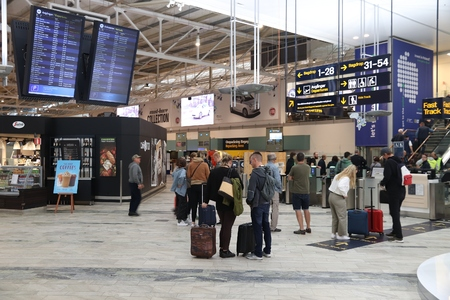 GOTHENBURG, SWEDEN - AUGUST 28, 2018: Passengers visit Gothenburg Landvetter airport in Sweden. It is the 2nd busiest airport in Sweden with 6.8 million annual passengers (2017).