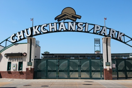 FRESNO, UNITED STATES - APRIL 12, 2014: Chukchansi Park baseball stadium in Fresno, California. The stadium is home for the Fresno Grizzlies.