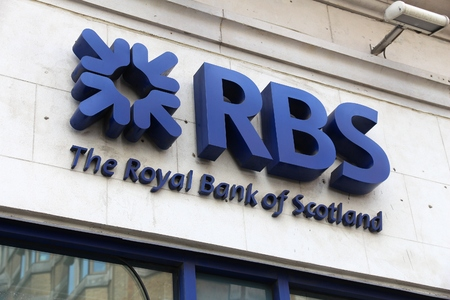 LONDON, UK - JULY 7, 2016: RBS Royal Bank of Scotland branch in London. RBS has 700 branches, most of them in Scotland.
