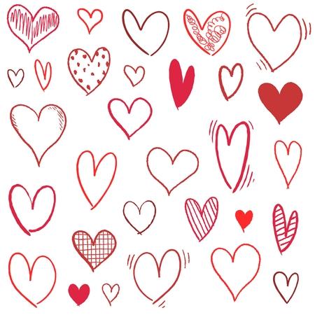 Hand drawn heart set - doodle vector heart shapes. Illustration