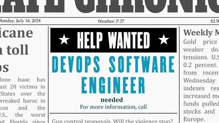 Oferta de trabajo: ingeniero de software DevOps. Anuncio clasificado de un periódico de carrera de TI en un periódico genérico falso. Ilustración de vector