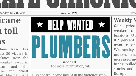 Plumbers job offer. Newspaper classified ad in fake generic newspaper.