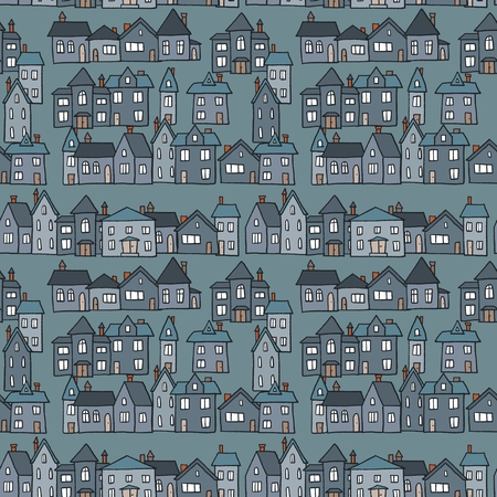 Small town homes night view vector illustration - seamless pattern. 矢量图片