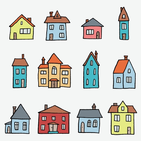 Colorful cartoon home set - cute doodle style vector illustration.