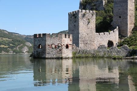Serbia landmark. Golubac Fortress on Danube River in region of Branicevo.